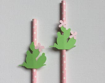 Fiesta Party Straw Decorations - Cactus Paper Straws - Succulent Party Cacti Theme Polka Dots Cactus Straws Mexican Decor Fiesta Forever