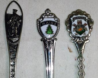 Set Of 3 Souvenir/Collectible Spoons/ New York, Bermuda, Maine (Sw)