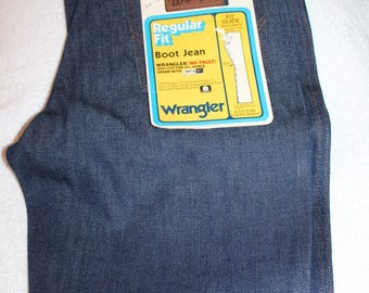 Vintage 70s 80s WRANGLER Dark Denim Sanforset Boot Flare Jeans USA NOS 32x31