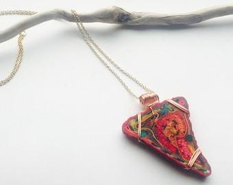 Fabric Jewel* pendant necklace