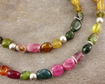 Tourmaline necklace, sterling silver, gemstone necklace, necklace with tourmaline, silver, tourmaline, purple, pink, green, blue, tourmaline necklace, necklace, gift