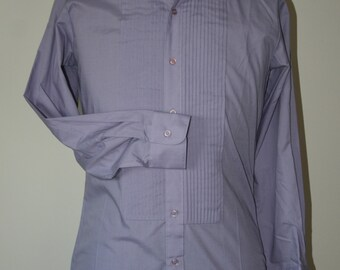 CLEARANCE, Vintage 1990's Lavender Tuxedo Shirt by Monte Carlo, White Collar, Pintucks, Excellent Condition.