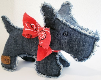 Roxy the Recycled Scottish-Terrier Puppy, Made from X2 Signature Jeans