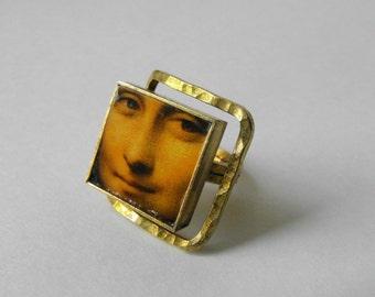 Mon Lisa Art Tile Ring ~ Modern Glass Tile Ring ~ Glass Tile Silvertone Metal Ring