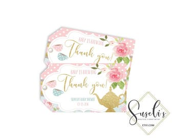 Personalized Thank you Tags Tea Party Baby Shower 2x3,5 inch, Shabby Gold Glitter Pink Shower Printable Instant Download, DIGITAL FILES, BS7