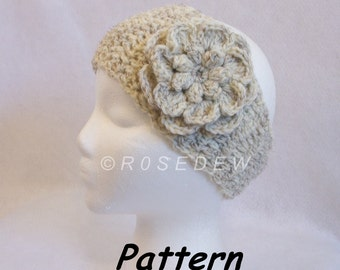 Instant Download to PDF CROCHET Pattern: In-Between Headband with Popcorn-Centered Flower