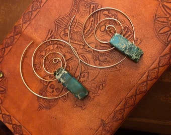 Jasper Spiral Hoop Earrings