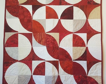 Modern Quilt, Christmas Quilt, Wall Quilt, Baby Quilt, Contemporary Quilt, Red Quilt, Throw Quilt, Handmade Quilt