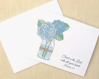 Blue Hydrangeas in Mason Jar - Christian Stationery - Set of 8 - Cards With Scripture