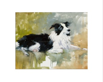 Border Collie Dog Art - Matted Print of Original Oil Painting- Animal Lovers, Puppy Art, Dogs, Black and White, Fur, Paws,