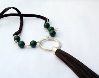 Leather tassle necklace - long necklace - green jade stone - bohemian jewelry - boho necklace - long necklace - leather tassle jewelry 2107
