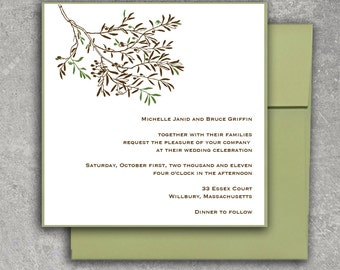 Olive Branch Wedding Invitation or Save the Date