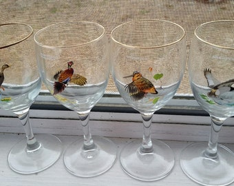 Vintage Rare Ned Smith Hand Painted Wine Glasses, Gold Rims, Beautiful!