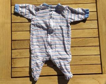ORANGIC Vintage Baby Boy Clothing Baby Boy Footsie Stripes Pjs