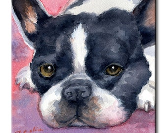 Boston Terrier Art Tile Print on Ceramic with Hook or with Feet Indoor Use -Gift for Dog Lovers