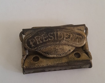 """Antique """"President"""" suspenders buckle by Shirley President, has patent date of August 23, '92  (1892) nice condition, probably early 1900's"""