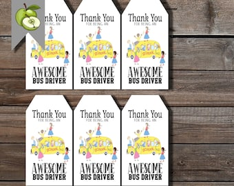 bus driver tag, gratitude for bus driver, thank you bus driver tag, printable, driver appreciation, thank you gift tags, digital files, BUS1