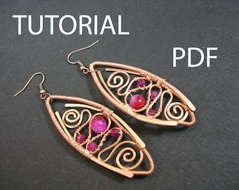 Wire wrapped earrings tutorial, jewelry pattern, tutorial in handmade, wire wrap tutorial instructions, pdf tutorial, earrings pdf lessons