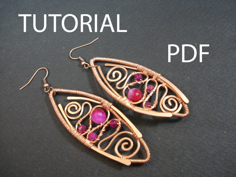Wire wrapped earrings tutorial, jewelry pattern, tutorial in ...