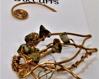 Deluxe Leopardstone & Copper Ear Cuff FREE SHIPPING