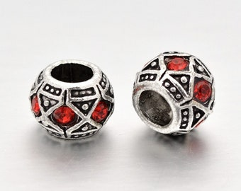 1 red rhinestone alloy silver 10 x 9 mm beads European large hole 4.5 mm for Bracelets European snakes, rigid, leather