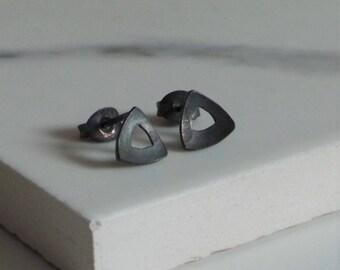 Black Triangle Stud Earrings - Oxidised Sterling Silver Earrings - Handmade Jewellery - Etsy UK - Minimalist Jewellery