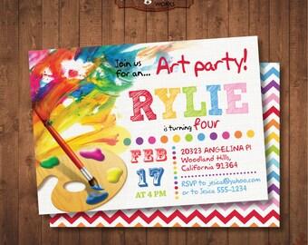 Birthday Painting Party Invitation. Rainbow colors. DIY card. Digital Printable card.
