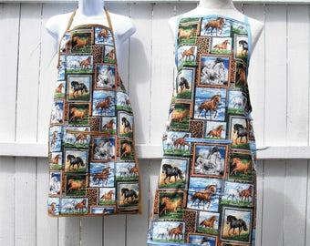 "Apron, ""I Love Horses"", equine theme gift"