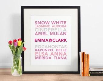 Personalised Disney Princess Subway Print | Personalised Name | Girl Nursery Decor | Kids Gift | INSTANT DOWNLOAD 5x7 8x10 Printable Art