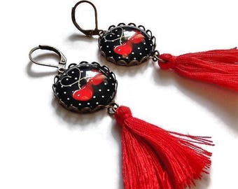 tassel earrings black and red cherry fruit time been fancy glass cabochon