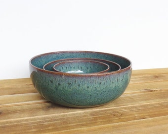 Ceramic Nesting Pottery Bowl Set in Sea Mist Glaze, Rustic Kitchen, Green Blue, Ceramic Bowls, Stoneware Serving Bowls - Set of Three