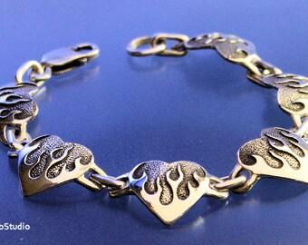 Flaming Heart Bracelet Sterling Silver Handcrafted