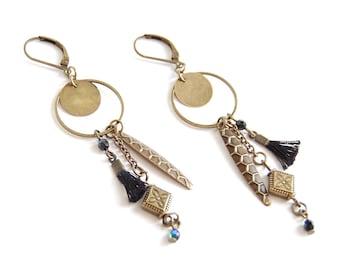 Shaman - Chic bohemian bronze earrings