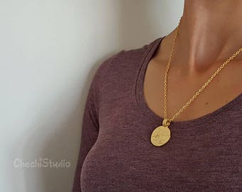 Hammered Gold  Medallion Necklace, Statement Necklace, Valentine Gift, Chain Necklace, Layering Necklace, Gold Necklace, Layered Necklace