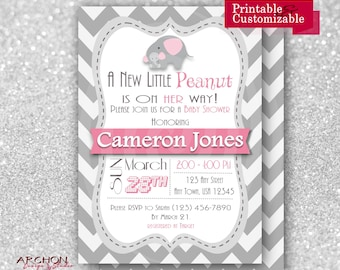 Elephant Baby Shower Invitation with Gray Chevron Back - Chevron with Pink and Grey Accents - Printable & Personalized - A-00017-b