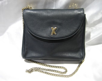 Paloma Picasso Gold Chain Navy Blue Leather Cross body Shoulder Bag Made in Italy
