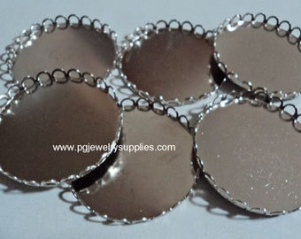 38mm round silvertone closed back lace edge cameo settings 6 pieces lot l X N
