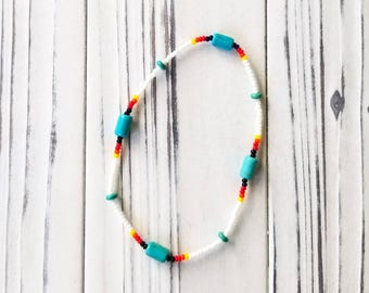 Womens Ankle Bracelet, Stretch Ankle Bracelet, Beaded Ankle Bracelet, Native American Jewelry