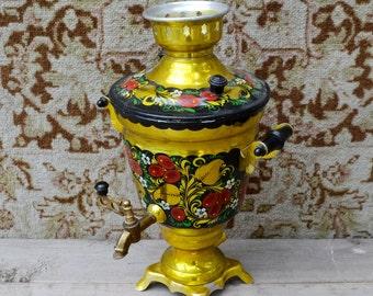 Russian Samovar, Electric samovar, Ukrainian folk gift, Farmhouse Decor, handpainted samovar, red black gold, metal folk teapot