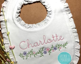 Floral Bib / Flower Bib / Girl Personalized Bib / Ruffle Bib / Girl's Monogram Bib / Baby Shower Gift / Baby Girl Gift / Christening bib