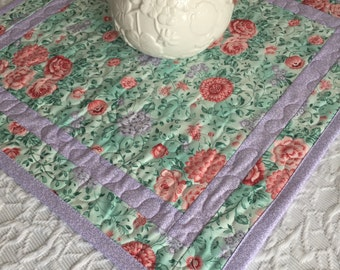 Shabby Chic Floral Table Topper Quilt, Lavender, Green, Spring Table Topper Quilt, Handmade Table Runner Quilt