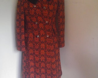 1960's Fitted Mod Coat Mink Collar 1960's Swing Coat Orange and Black