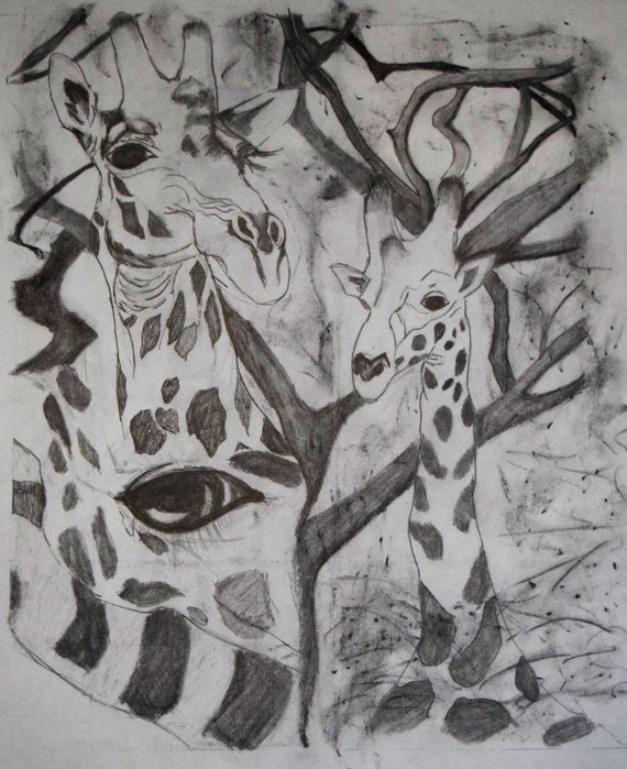 Drawing, Giraffe Collage in graphite