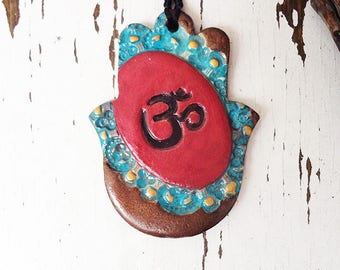 Hamsa Aum Wall Hanging, Meditation Symbol, Handmade Om Aum Sign, Ceramic Healing Hand, Amulet, Good Luck Charm Home Decor, Ready to Ship.
