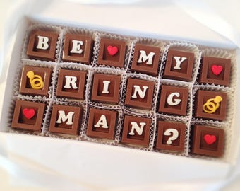 Ring Bearer Proposal - Chocolate Ring Bearer Gift - Will You Be My Ring Bearer Chocolates - Wedding Party Attendant Gift