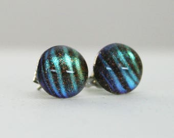 Sea Monster - Blue, Teal and Brown - Color Shifting - Stainless Steel Stud Earrings