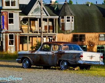 Old Car & Odd House, Maine Photography, Downeast Maine, Old Car Print, Car Print