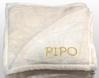 Personalized Multi-use Polar Sofa Bed Travel Fleece Blanket with Name - Ref. Dulcelina - Beige