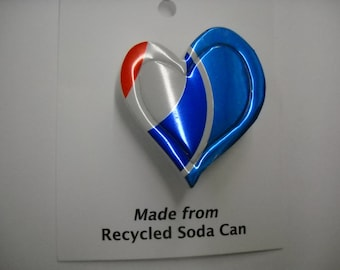 Magnet  Pepsi Heart Recycled Can Pin