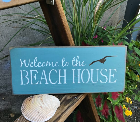 Welcome To Our Beach House Sign: Welcome To The Beach House Beach House Decor Wooden Signs